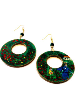 Hand-painted earrings - Poppies by Monet