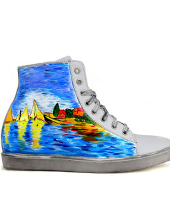 Sneakers dipinte a mano – Regate ad Argenteuil di Monet