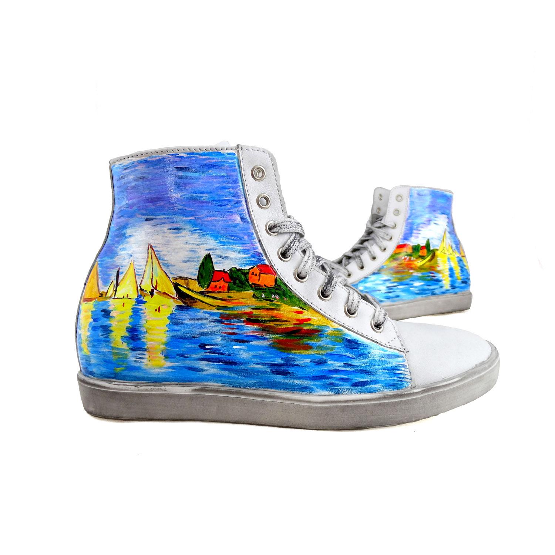 Sneakers dipinte a mano – Regate ad Argenteuil di Monet