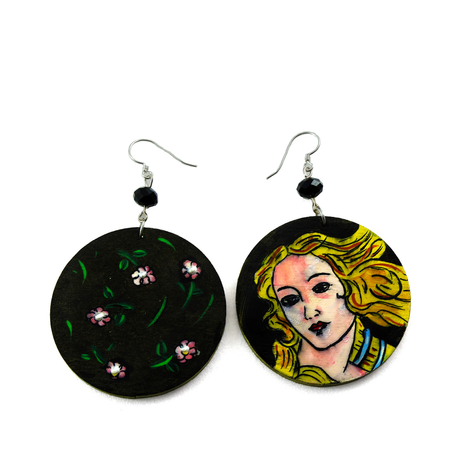 Hand-painted earrings - The Birth of Venus by Botticelli