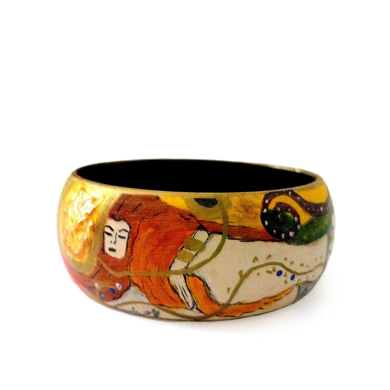 Bracciale dipinto a mano – Serpenti d'acqua di Klimt