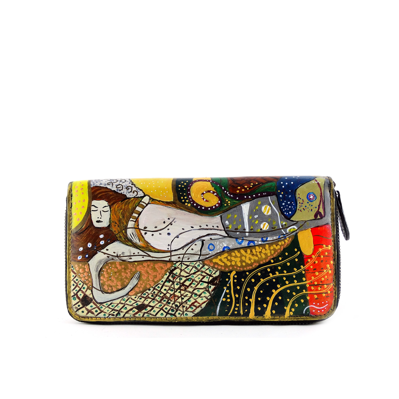 Portafoglio dipinto a mano – Serpenti d'acqua di Klimt