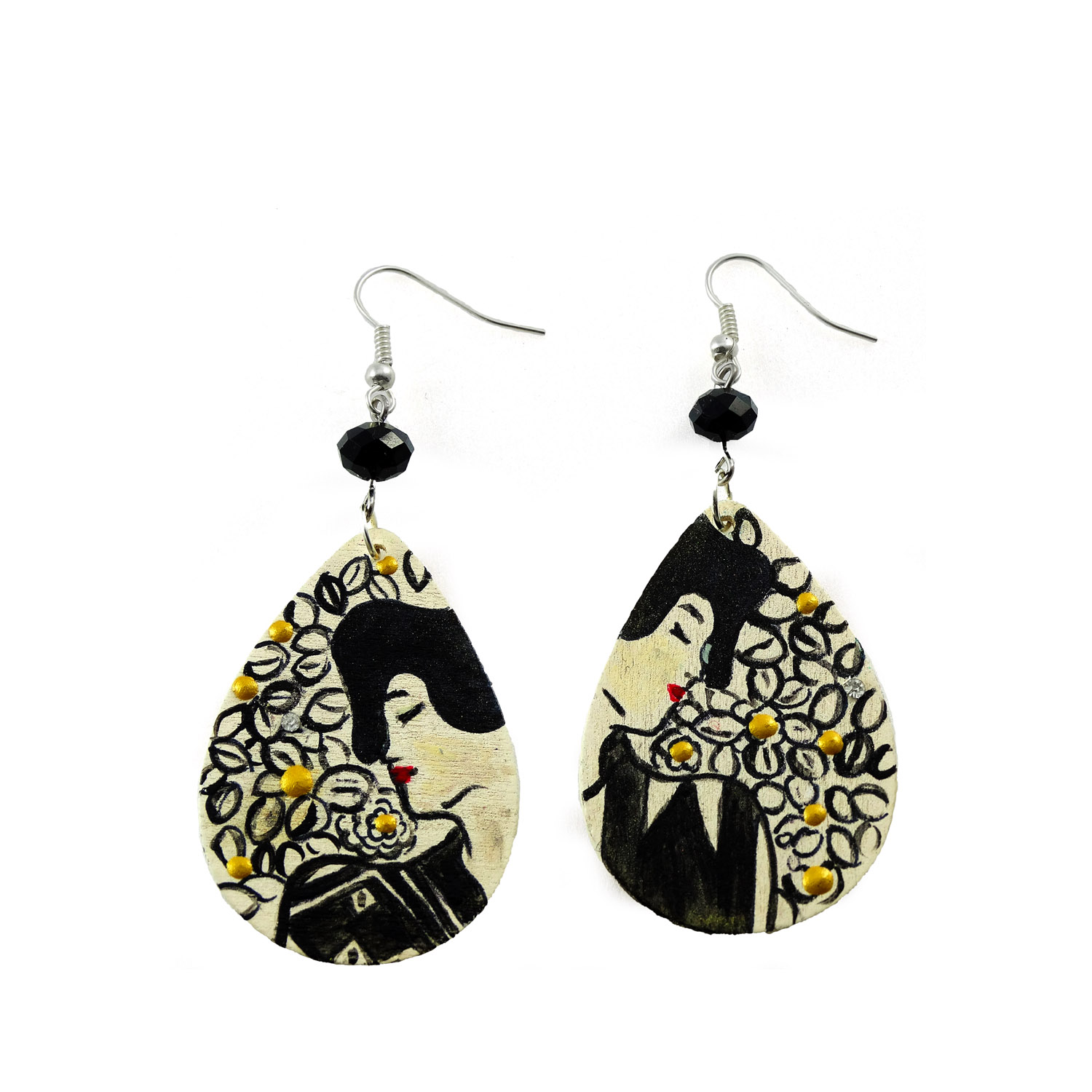 Hand-painted earrings - Two silhouettes by Klimt