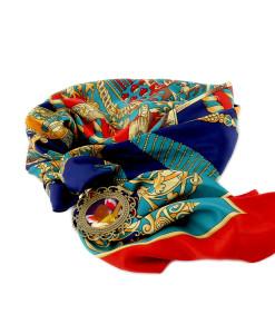 Foulard gioiello dipinto a mano – Angiolino musicante di Rosso Fiorentino