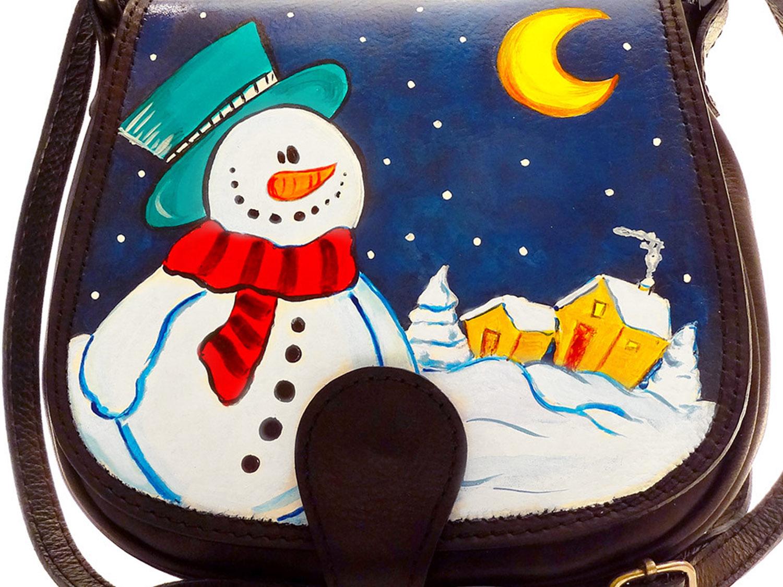 Borsa dipinta a mano – Pupazzo di neve