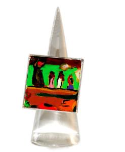 Anello dipinto a mano - Giocosità (Arearea) di Gauguin