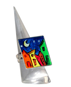 Hand painted ring - Cartoon city night