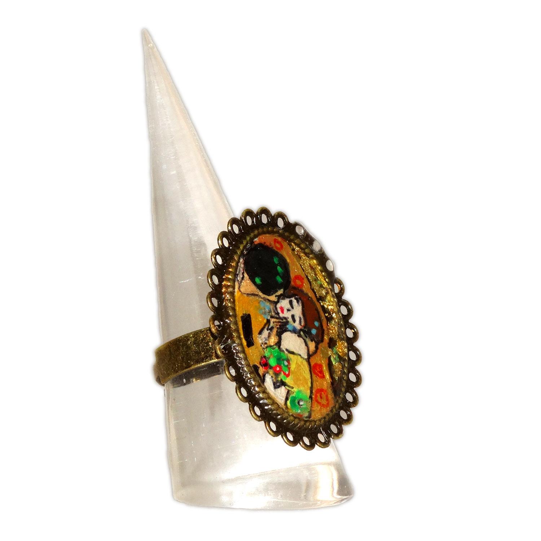 Anello dipinto a mano – Il bacio di Klimt