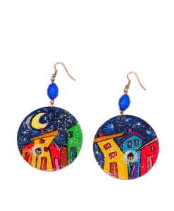 Hand-painted earrings - Cartoon City Night
