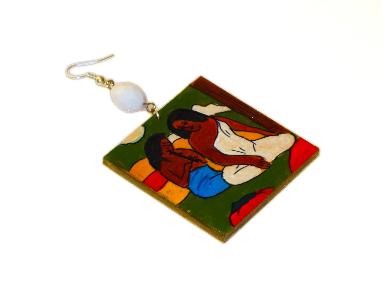 Orecchini dipinti a mano – Giocosità (Arearea) di Gauguin