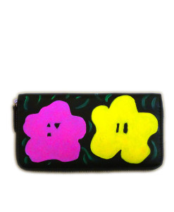 Hand painted wallet - Flowers by Warhol