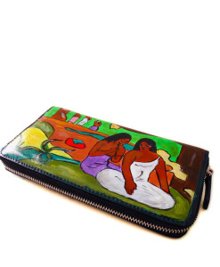 Hand painted wallet - Playful (Arearea) by Gauguin