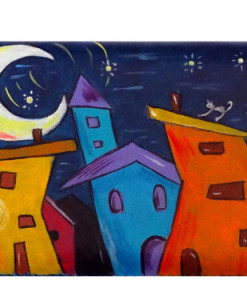 Portafoglio dipinto a mano – Cartoon City Night