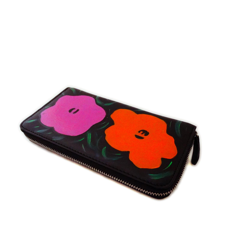 Portafoglio dipinto a mano – Fiori di Warhol