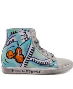Scarpe dipinte a mano – Music is my world