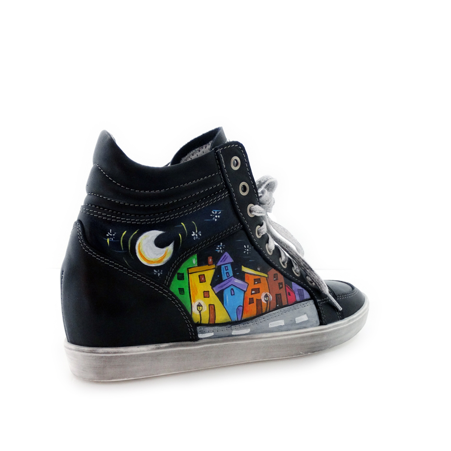 Scarpe sneakers dipinte a mano – Cartoon city night