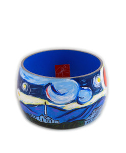 Hand-painted bracelet - Starry Night by Van Gogh