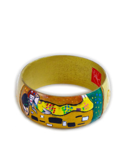 Hand-painted bracelet - The Kiss by Klimt