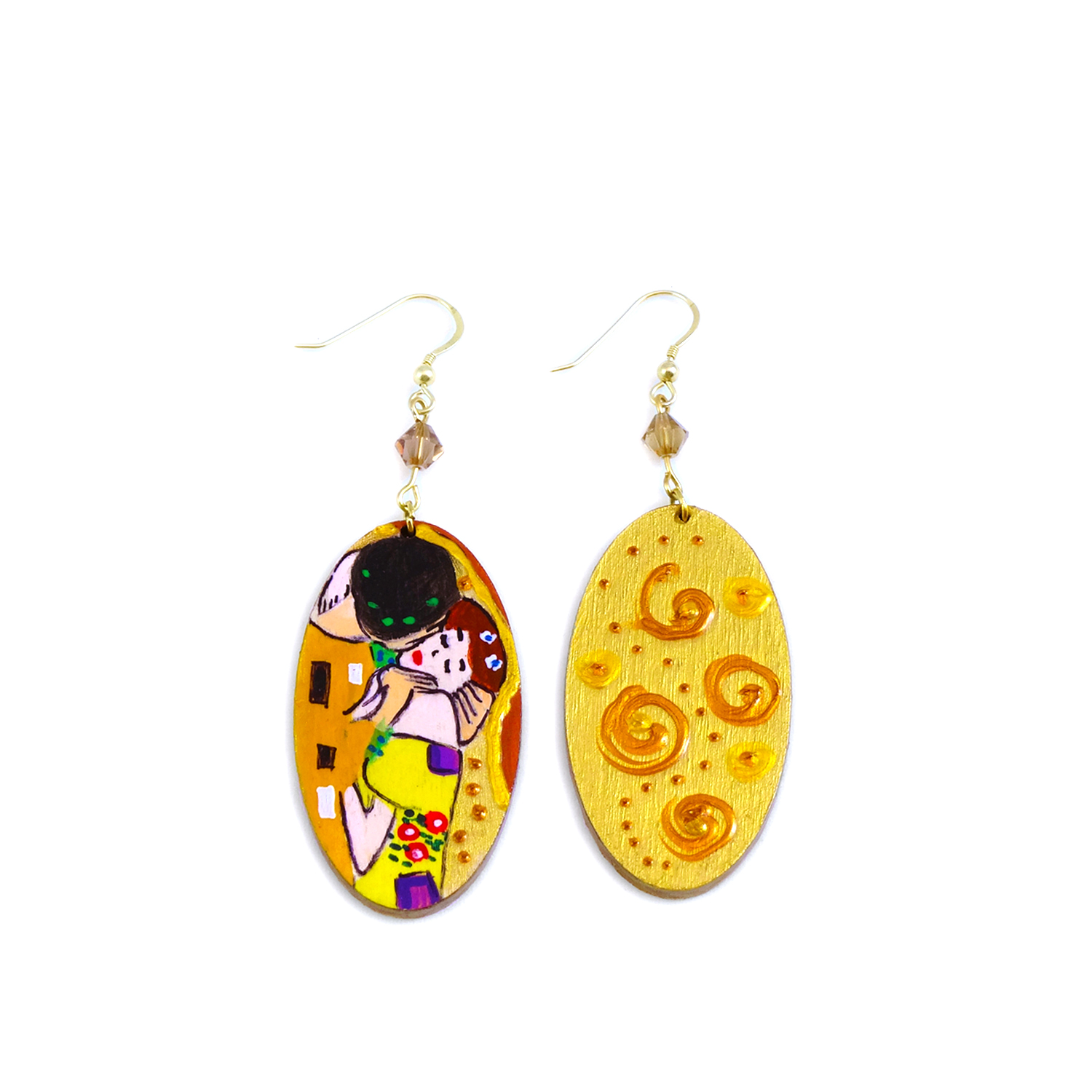 Handpainted Earrings - The Kiss by Klimt