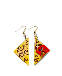 Hand-painted earrings - The embrace by Klimt