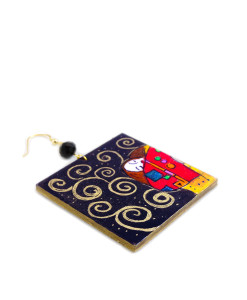 Hand-painted earrings - The Tree of Life by Klimt