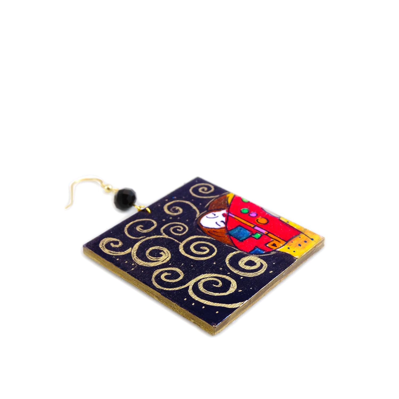 Orecchini dipinti a mano l'albero della vita di Klimt