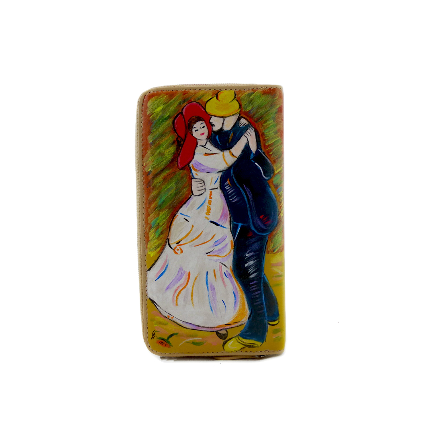 Hand painted wallet - Dance at Bougival by Renoir