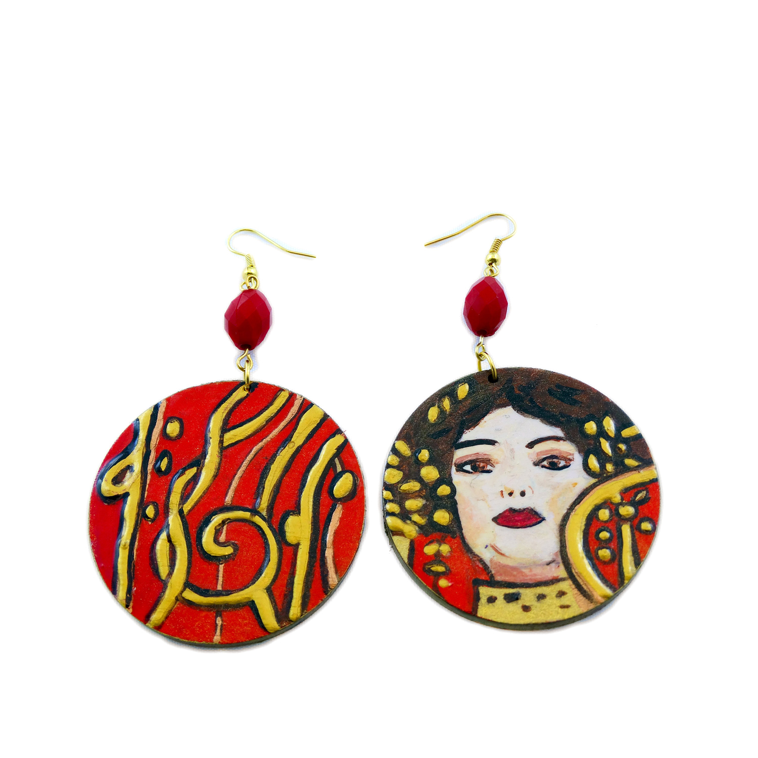 Hand-painted earrings - Igea (medicine) by Klimt