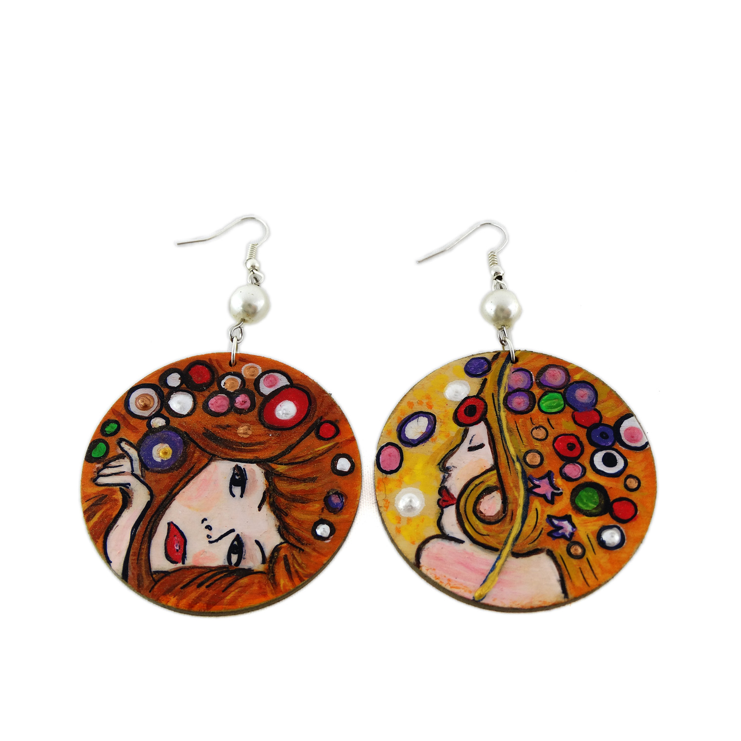 Hand-painted earrings - Water serpents by Klimt