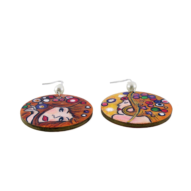 Orecchini dipinti a mano – Bisce d'acqua di Klimt