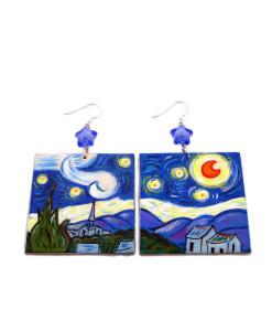 Orecchini dipinti a mano – La notte stellata di Van Gogh