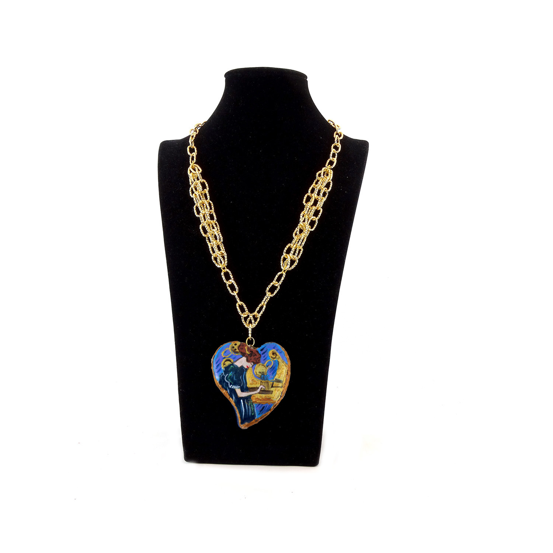 Collana dipinta a mano – La musica di Klimt