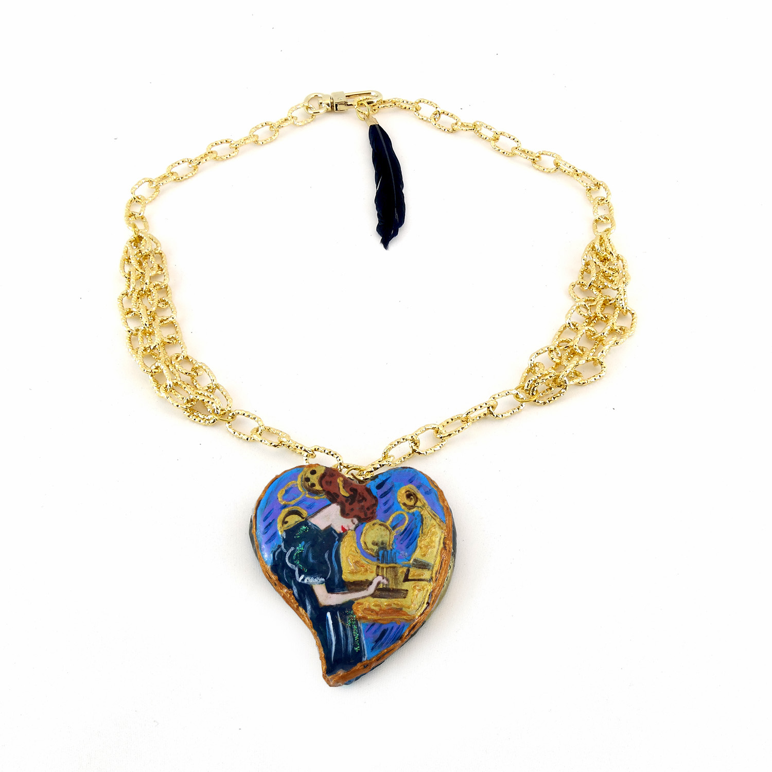 Hand-painted necklace - The Music by Klimt