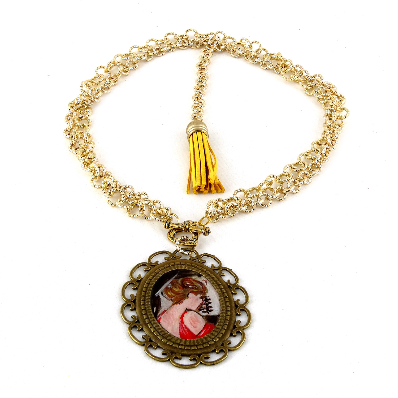 Collana dipinta a mano – La signora in Rosso di Boldini