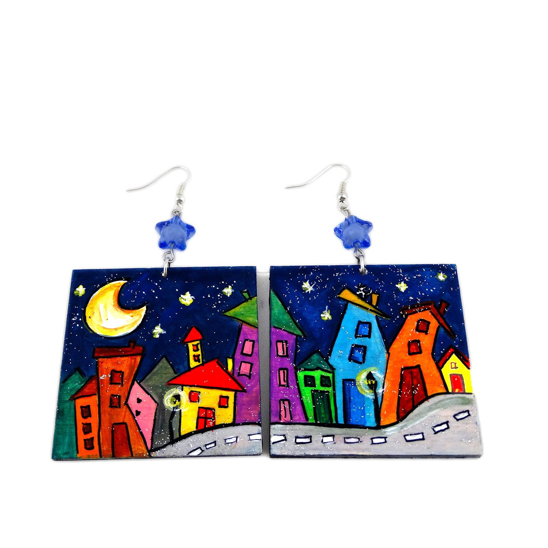 Hand-painted earrings - Cartoon city night evolution
