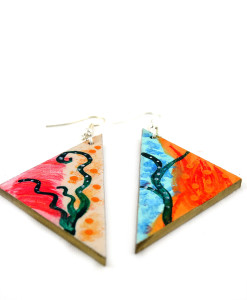 Hand-painted earrings - Enchanted Garden