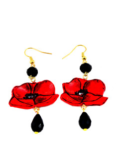 Hand painted earrings - Poppies