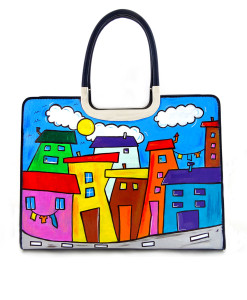 Borsa dipinta a mano – Cartoon city day