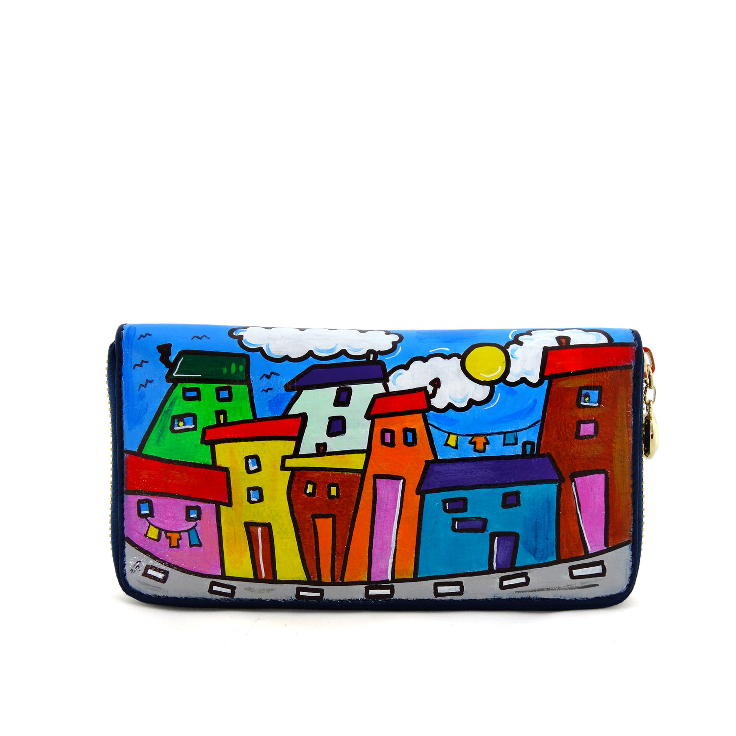 Hand painted wallet - Cartoon city day