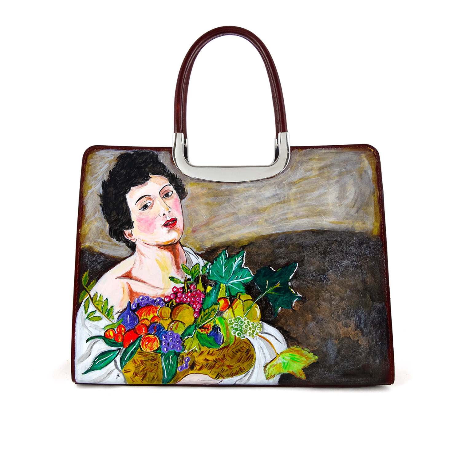 Hand-painted bag - Child with a Basket of Fruit by Caravaggio