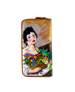 Hand painted wallet - Child with a Basket of Fruit by Caravaggio