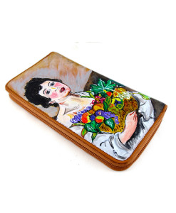 Portafoglio dipinto a mano – Fanciullo con canestro di frutta