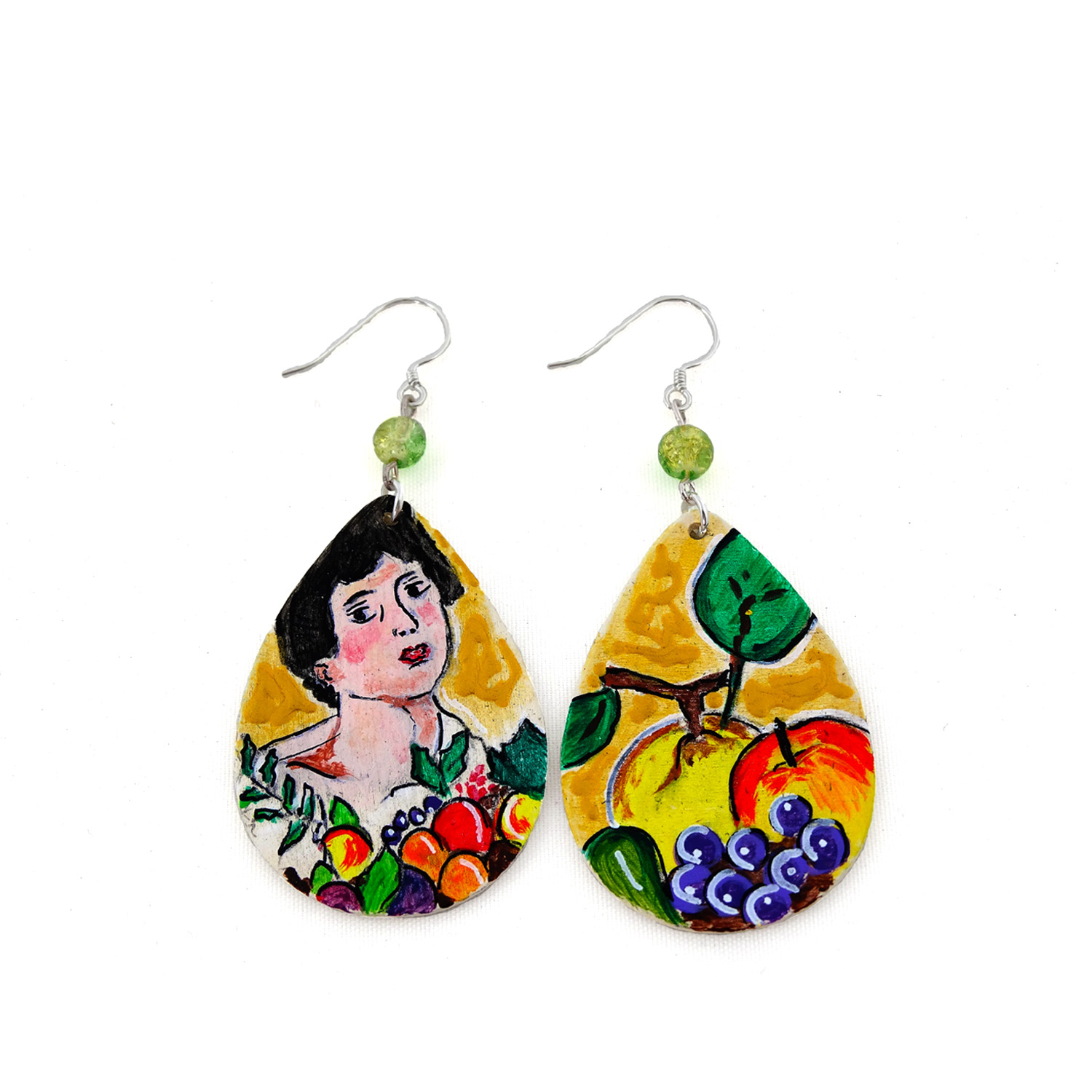 Hand-painted earrings - Child with a Basket of Fruit by Caravaggio