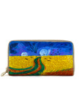 Hand painted wallet - Wheatfield with Crows by Van Gogh