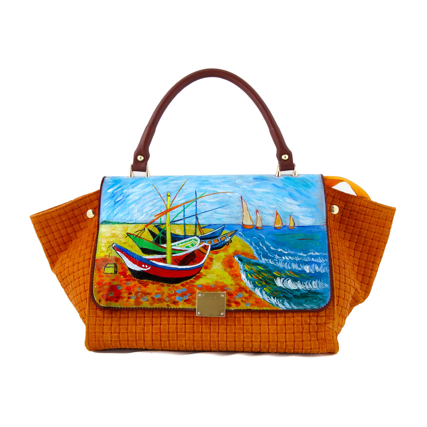 Hand painted bag - Fishing boats on the beach of Les Saintes-Maries-de-la-Mer by Van Gogh