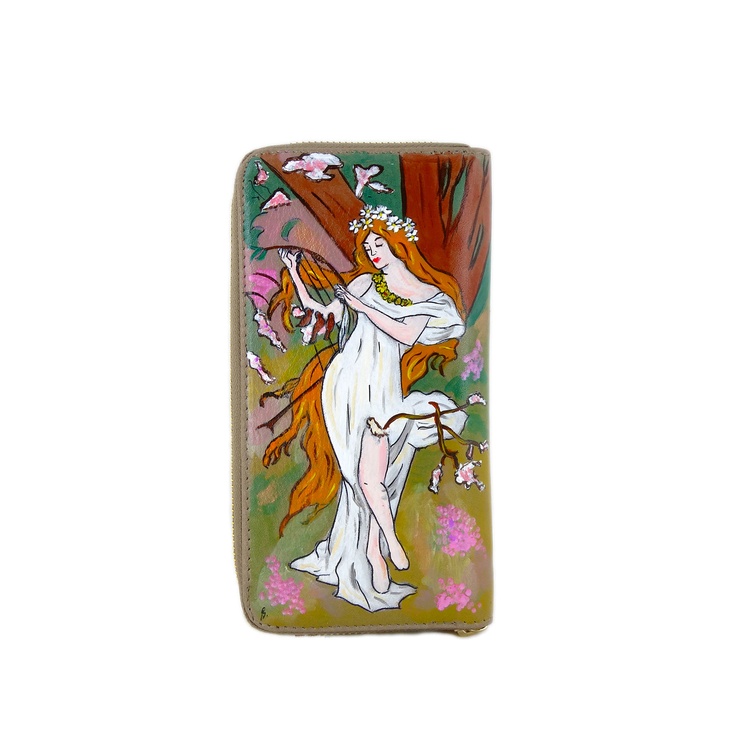 Hand painted wallet - Spring by Mucha