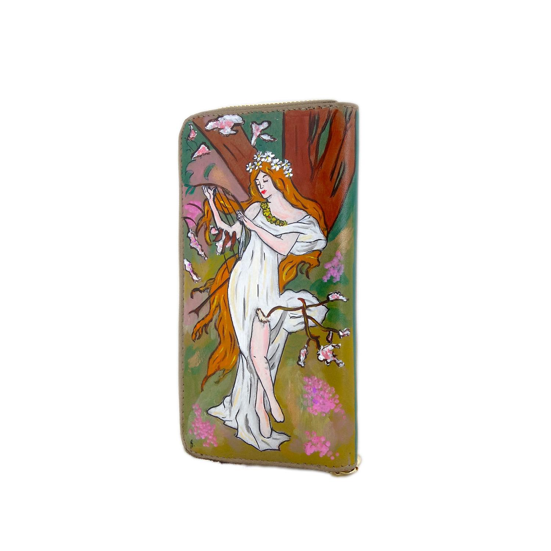 Portafoglio dipinto a mano – La primavera di Mucha