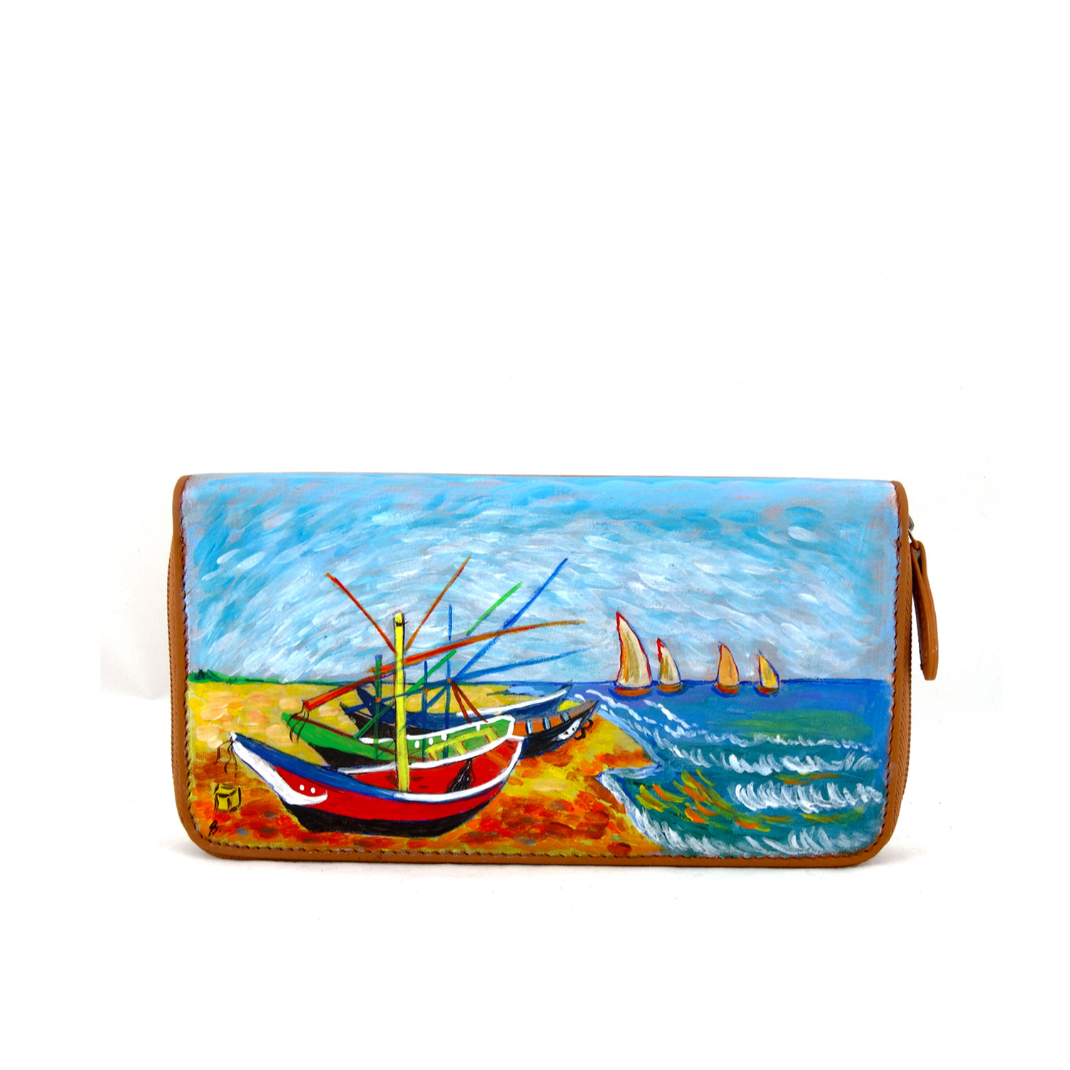 Hand painted wallet - Fishing boats on the beach of Les Saintes-Maries-de-la-Mer by Van Gogh