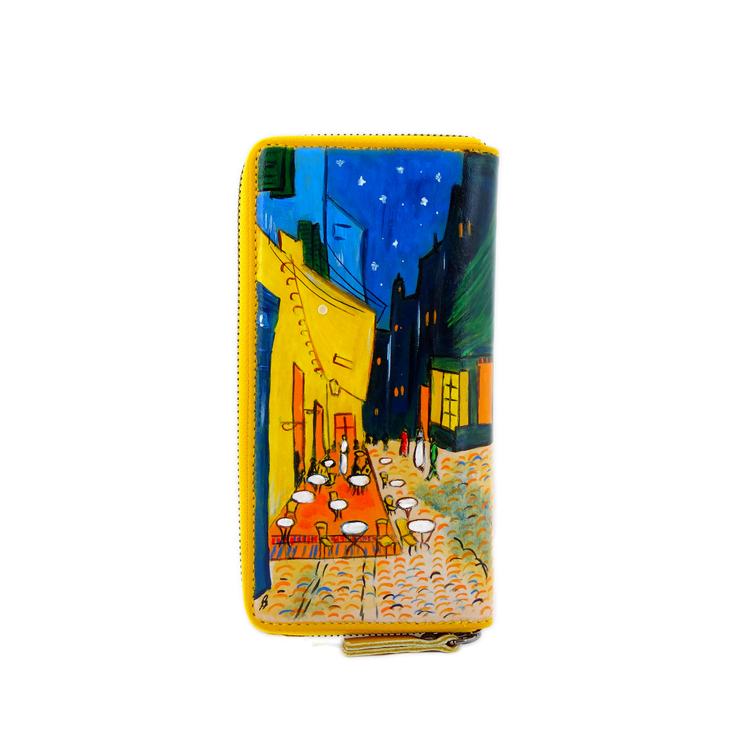 Hand painted wallet - Terrace Cafe at night by Van Gogh
