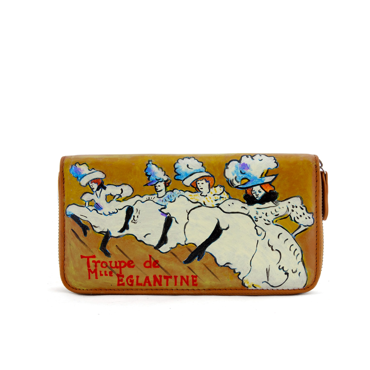 Hand painted wallet - La Troupe de Mlle Eglantine by Lautrec